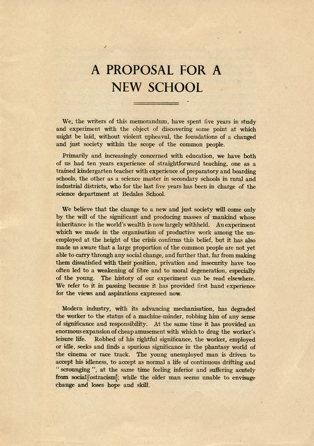 Proposal for a New School (1936) page 1